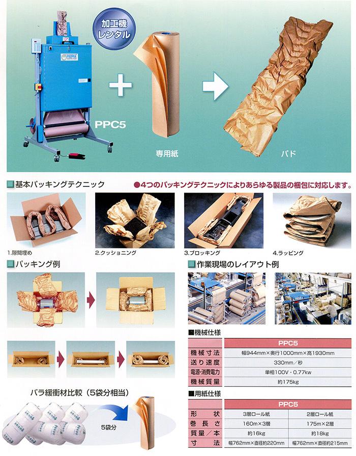 フリーサイズの紙製緩衝材PPC5